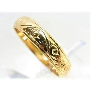 K18 18金 リング 甲丸 柄入サイズ#16~16.5 結婚指輪 男女兼用(リング(指輪))