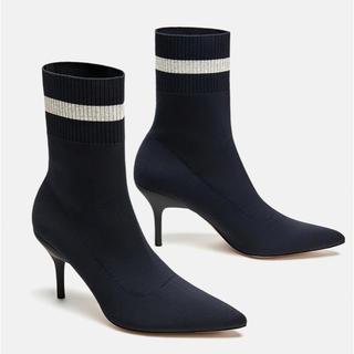 ザラ(ZARA)のZARA【ソックスブーツ 38サイズ 替えヒール付】正規品(ブーツ)