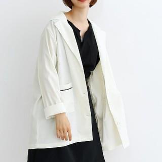 メルロー(merlot)のmerlot 配色パイピングジャケット オフホワイト(テーラードジャケット)