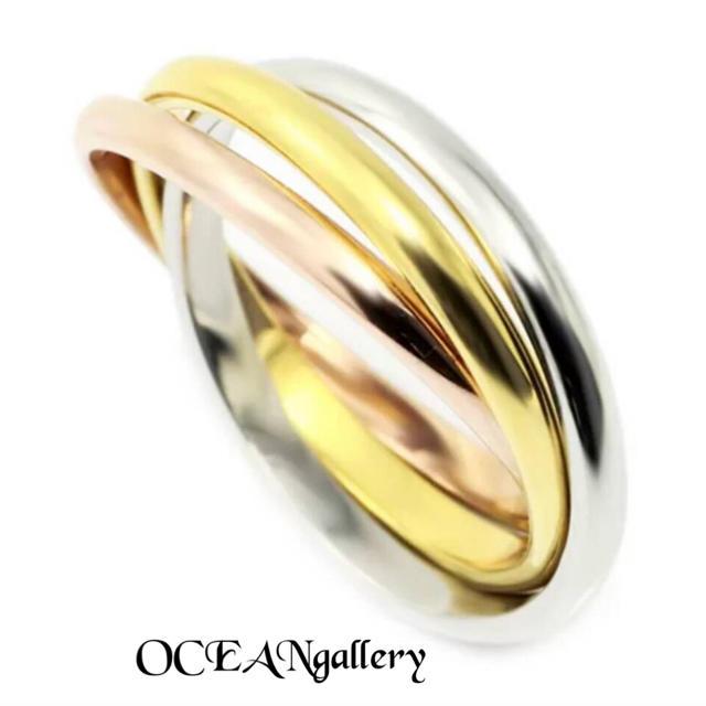 送料無料 16号 サージカルステンレス 三色三連リング 指輪 トリニティリング レディースのアクセサリー(リング(指輪))の商品写真