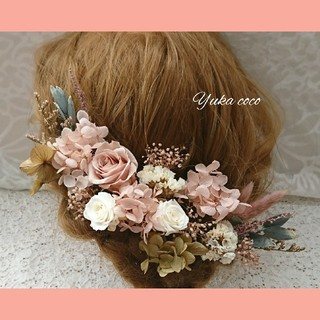 sale❁¨̮ドライフラワー ヘッドドレス 髪飾り❁¨̮くすみピンク(ヘッドドレス/ドレス)