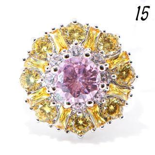 P16 リング 15号 人工石 ピンクサファイア フラワー イエロー(リング(指輪))