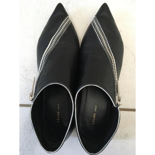 セリーヌ(celine)のセリーヌ ジップフラットシューズ 37  黒 OLDCELINE(ローファー/革靴)