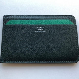 エルメス(Hermes)のエルメス カードケース  名刺 定期入れ 緑バイカラー(名刺入れ/定期入れ)