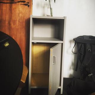 木製 レトロ 電話台 グレー(電話台/ファックス台)