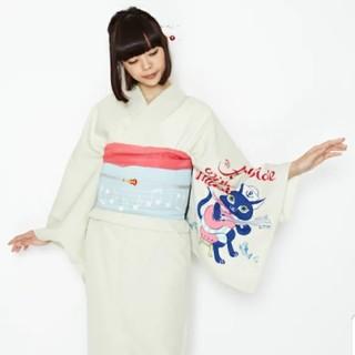 フリフ(ふりふ)のふりふオリジナル浴衣「猫の水兵さん」新品未使用 単衣としても(浴衣)