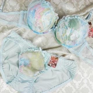 052★B75 M★美胸ブラ ショーツ Wパッド グラデーション 薄水色(ブラ&ショーツセット)