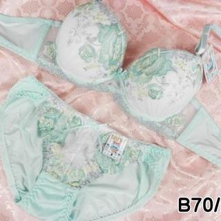 040★B70 M★美胸ブラ ショーツ Wパッド ローズ刺繍 緑(ブラ&ショーツセット)