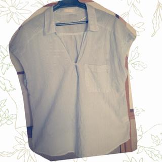 ジーユー(GU)のGU 水色ボーダーブラウス(シャツ/ブラウス(半袖/袖なし))