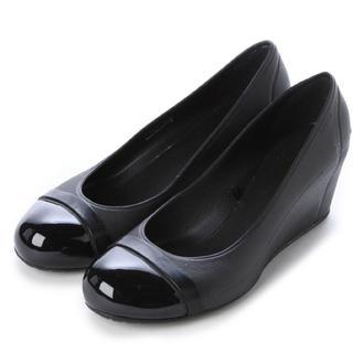 クロックス(crocs)の♪お値下げ♪クロックス ウェッジソール パンプス 黒 サイズ25㎝ W9 未使用(ハイヒール/パンプス)