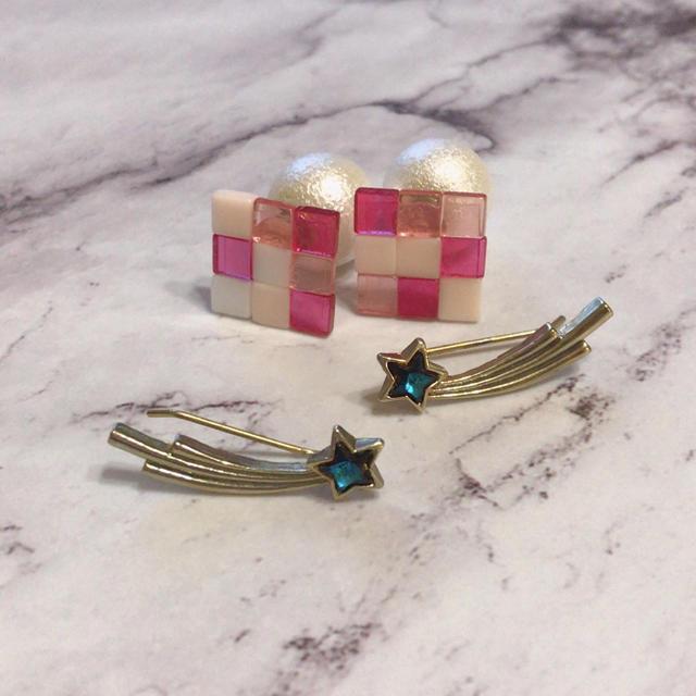 Lily Brown(リリーブラウン)のピンクタイルと星のピアス2個セット レディースのアクセサリー(ピアス)の商品写真