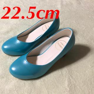 36 22.5cm パンプス 青 レディース靴 ブルー 水色 お洒落 合皮(ハイヒール/パンプス)