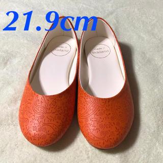 35 21.9cm ペイズリー柄 オレンジ 22cm 22センチ 小さいサイズ(バレエシューズ)