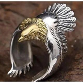 ✨定価5780円✨クロムシルバー ワンポイント ビッグメタル イーグル 指輪(リング(指輪))
