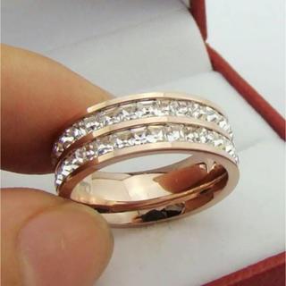 スワロフスキー(SWAROVSKI)の✨定価5980円✨★SWAROVSKI★ 2連 ピンクゴールド 指輪(リング(指輪))