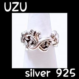 唐草リング シルバー925×ホワイトトパーズ uzu 7号 鏡面仕上げ(リング(指輪))