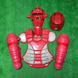 ミズノ(MIZUNO)の少年ソフトボール キャッチャー 防具 プロテクター セット ヘルメットつき(防具)