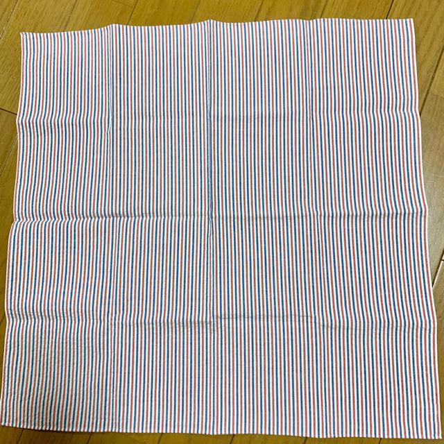Drawer(ドゥロワー)の★htokyoハンカチ専門店レッドネイビーダブルストライプサッカー生地ハンカチ レディースのファッション小物(ハンカチ)の商品写真