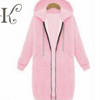 大きいサイズ韓国レディースファッション ワンピース パーカー 6L ピンク(ロングコート)