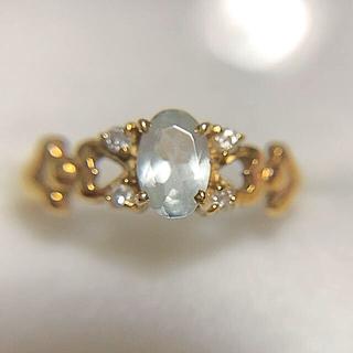 k18 アクアマリン ダイヤモンド リング(リング(指輪))