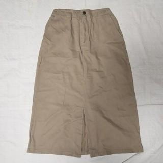 メルロー(merlot)のコットン100% チノ ベージュ スカート(ひざ丈スカート)