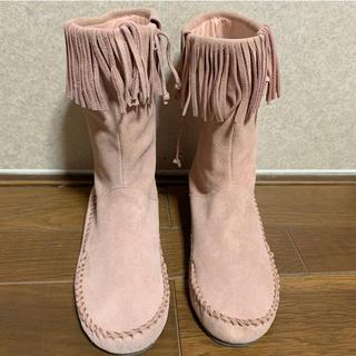 本革 フリンジ ショートブーツ ピンク 25cm(ブーツ)
