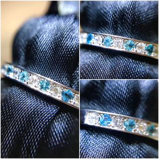 pt900 綺麗なパライバトルマリン&ダイヤのエタニティリング(リング(指輪))