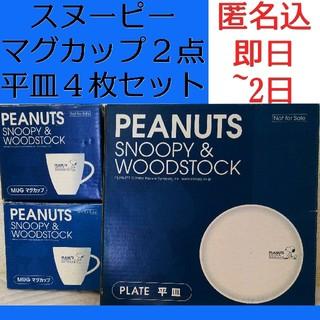 スヌーピー(SNOOPY)のスヌーピー ウッドストック ペア マグカップ プレート お皿 セット まとめ売り(食器)