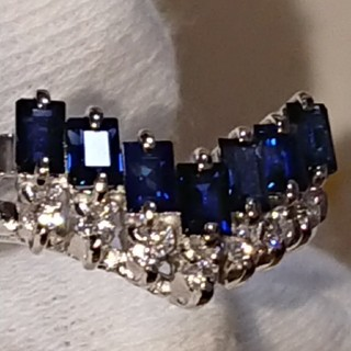 天然ブルーサファイア天然ダイヤモンドリング(リング(指輪))
