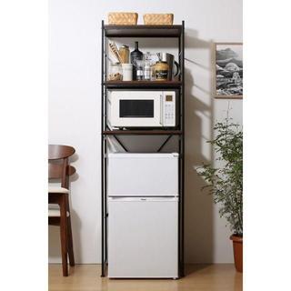デザイナーズ 冷蔵庫ラック レンジラック ブラック(キッチン収納)