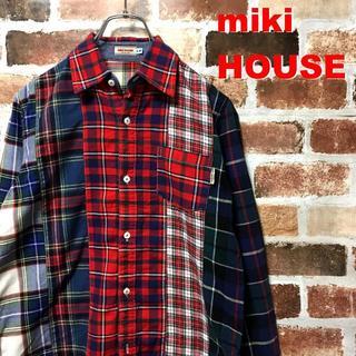 ミキハウス(mikihouse)の【レア】ミキハウス☆クレイジーパターンチェックネルシャツ(Tシャツ/カットソー(七分/長袖))
