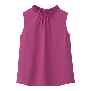 ジーユー(GU)のGU フリルネックブラウス(ピンク)(シャツ/ブラウス(半袖/袖なし))