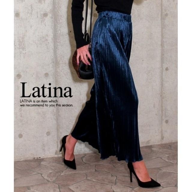 ANAP Latina(アナップラティーナ)のanap Latina ベロア プリーツ ワイドパンツ F レディースのパンツ(その他)の商品写真