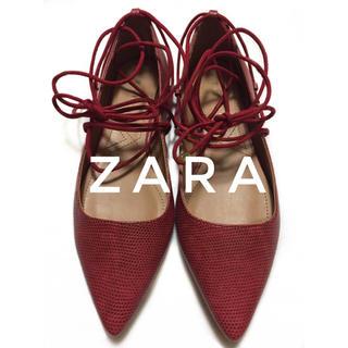 ザラ(ZARA)のZARA【新品、未使用】 編み上げ レースアップ パンプス フラット シューズ(ハイヒール/パンプス)