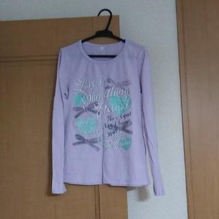 シマムラ(しまむら)の女の子用長袖Tシャツ紫 ハートとリボンプリント 160(Tシャツ/カットソー)