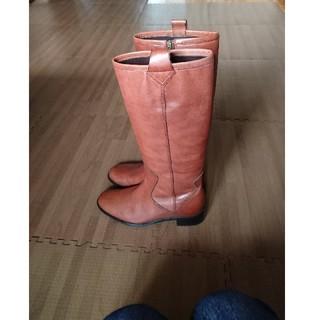 【小さいサイズ】本革 ベイクドブラウン レザー ロングブーツ サイズS(ブーツ)