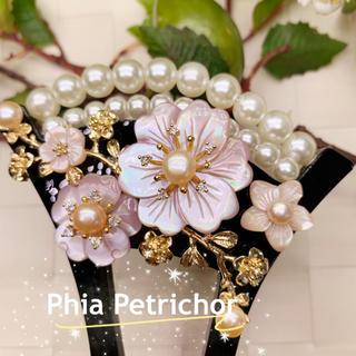 雅 KP1992668 ピンク貝 桜 かんざし バチ型 結婚式 真珠 パール 簪(ヘアアクセサリー)