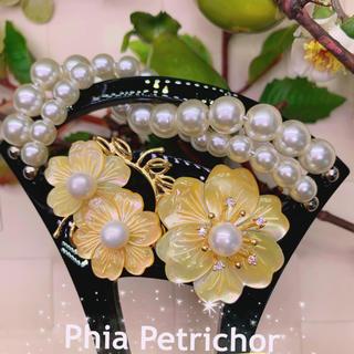 蝶貝 桜 かんざしバチ型 パール 簪 髪飾り留袖 着物 成人式 結婚式 36(ヘアアクセサリー)