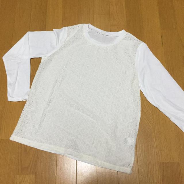 GU(ジーユー)のレース切り替えTシャツ レディースのトップス(Tシャツ(長袖/七分))の商品写真