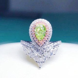 GIA♡ペアシェイプL.Greenish.Yellowダイヤモンドリング(リング(指輪))