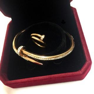 キラキラ輝く釘ブレス&釘リングセット (リング(指輪))