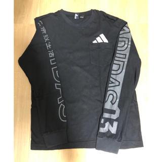 アディダス(adidas)のアディダスの長袖 黒Tシャツ(Tシャツ/カットソー(七分/長袖))