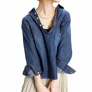 大きいサイズ 3L デニム シャツ Vネック アンティーク ヴィンテージ加工(シャツ/ブラウス(長袖/七分))