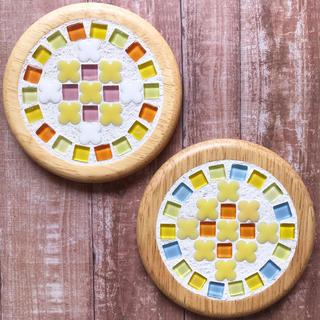 ガラスタイルコースター2枚セット(キッチン小物)