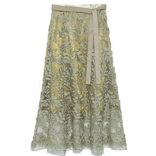 フレイアイディー(FRAY I.D)のFRAY I.D  リーフ刺繍レーススカート サイズ0(ロングスカート)