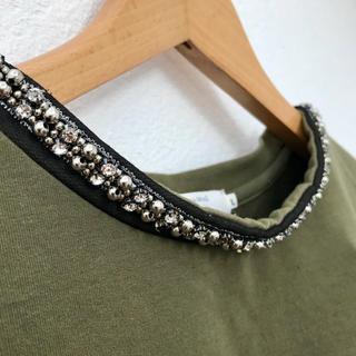 サマンサモスモス(SM2)のSamansa Mos2 ビジューキラキラ  半袖トレーナー Lサイズ(カットソー(半袖/袖なし))