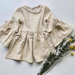 コットンリネンワンピース 韓国子供服(ワンピース)