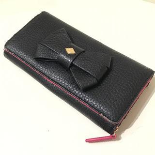 ヴィヴィアンウエストウッド(Vivienne Westwood)のヴィヴィアンウエストウッド 長財布 ブラック×ピンク ビッグリボン 良品 人気(財布)