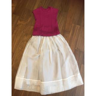 アンタイトル(UNTITLED)のuntitled アンタイトスカート シルバー シフォン 美品(ひざ丈スカート)