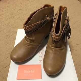ヌォーボ(Nuovo)の☆新品☆ブラウン編み込みリボン付きブーツ☆ Lサイズ(ブーツ)